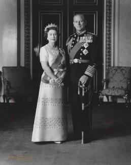 Queen Elizabeth II; Prince Philip, Duke of Edinburgh, by Dennis Constantine - NPG P1529