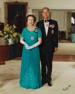 Queen Elizabeth II; Prince Philip, Duke of Edinburgh, by John Crowther - NPG P1532