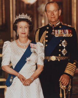 Queen Elizabeth II; Prince Philip, Duke of Edinburgh, by Tim Graham - NPG P1539