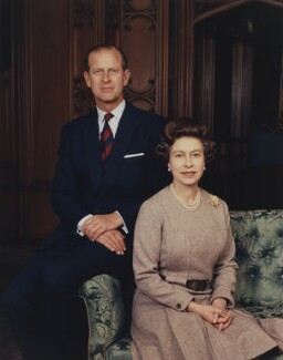 Prince Philip, Duke of Edinburgh; Queen Elizabeth II, by Peter Grugeon - NPG P1548