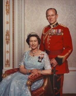 Queen Elizabeth II; Prince Philip, Duke of Edinburgh, by Yousuf Karsh - NPG P1571