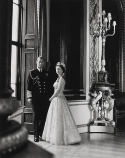 Prince Philip, Duke of Edinburgh; Queen Elizabeth II, by Lord Snowdon, 10 October 1957 - NPG P1642 - © Armstrong Jones
