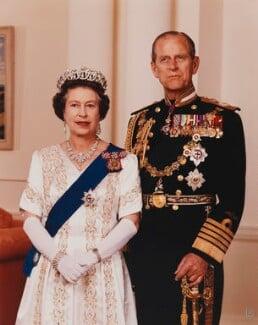 Queen Elizabeth II; Prince Philip, Duke of Edinburgh, by Ronald Woolf - NPG P1653