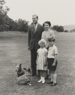 Prince Philip, Duke of Edinburgh; Princess Anne; Queen Elizabeth II; Prince Charles, by Unknown photographer - NPG P1659