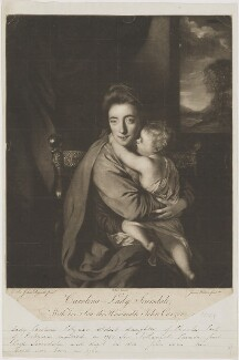 'Caroline Curzon (née Colyear), Lady Scarsdale with her son the Honourable John Curzon' (John Curzon; Caroline Curzon (née Colyear), Lady Scarsdale), by James Watson, published by  Robert Sayer, after  Sir Joshua Reynolds - NPG D40563