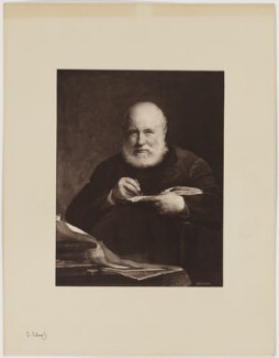 Sir George Scharf, by Henry Dixon & Son, after  Walter William Ouless, 1889 (1885) - NPG D40566 - © National Portrait Gallery, London
