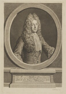 Matthew Prior, published by George Vertue, after  Alexis Simon Belle - NPG D40757
