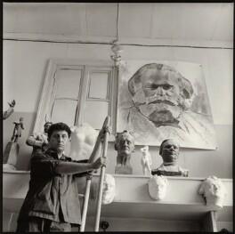 Lev Efimovich Kerbel with works including a sketch for his monumental bust of Karl Marx, by Ida Kar - NPG x134756