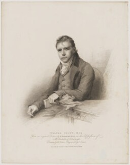 Sir Walter Scott, 1st Bt, by Charles Picart, published by  T. Cadell & W. Davies, after  William Evans, after  Sir Henry Raeburn - NPG D40608