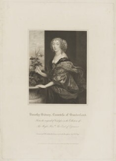 Dorothy Spencer (née Sidney), Countess of Sunderland, by William Thomas Fry, published by  Lackington, Allen & Co, and published by  Longman, Hurst, Rees, Orme & Brown, after  Robert William Satchwell, after  Sir Anthony van Dyck, published 31 October 1816 - NPG D40910 - © National Portrait Gallery, London