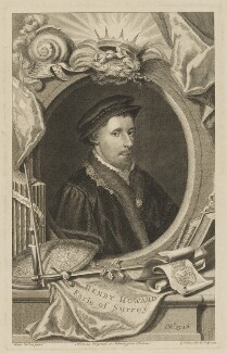 Henry Howard, Earl of Surrey, by George Vertue, after  Unknown artist - NPG D40912