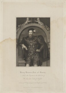 Henry Howard, Earl of Surrey, by Thomas Anthony Dean, published by  Harding & Lepard, after  William Derby, after  Unknown artist, published 1 June 1828 (circa 1546) - NPG D40917 - © National Portrait Gallery, London