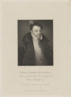 Thomas Radcliffe, 3rd Earl of Sussex, by Henry Meyer, published by  Lackington, Allen & Co, and published by  Longman, Hurst, Rees, Orme & Brown, after  William Haines, after  Unknown artist - NPG D40919