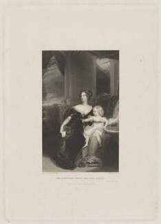 Harriet Elizabeth Georgiana Leveson-Gower, Duchess of Sutherland; Elizabeth Georgiana, Duchess of Argyll, by William Finden, printed by  H. Wilkinson, after  Sir Thomas Lawrence - NPG D40929