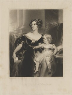 Harriet Elizabeth Georgiana Leveson-Gower, Duchess of Sutherland; Elizabeth Georgiana, Duchess of Argyll, by George Henry Phillips, published by  Graves & Warmsley, after  Sir Thomas Lawrence, published 15 April 1841 (1828) - NPG D40930 - © National Portrait Gallery, London