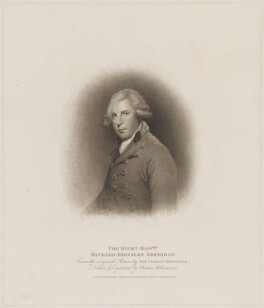 Richard Brinsley Sheridan, by Thomas Williamson, published by  Robert Cribb & Son, after  Sir Joshua Reynolds - NPG D40700