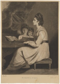 Elizabeth Ann Sheridan (née Linley) as St Cecilia, by William Dickinson, after  Sir Joshua Reynolds - NPG D40701