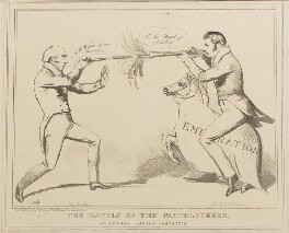 The Battle of the Pamphleteers or Newark versus Newcastle (Michael Thomas Sadler; Sir Robert John Wilmot-Horton), by John ('HB') Doyle, published by  Edward McLean - NPG D40939