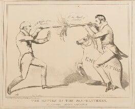 The Battle of the Pamphleteers or Newark versus Newcastle (Michael Thomas Sadler; Sir Robert John Wilmot-Horton), by John ('HB') Doyle, published by  Edward McLean - NPG D40939