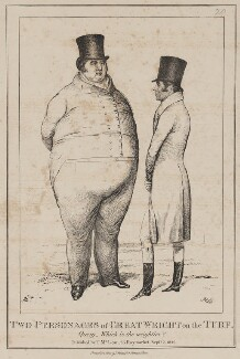 Two Personages of Great Weight on the Turf (Thomas Thornhill; Samuel Chiffney), by John ('HB') Doyle, printed by  Joseph Netherclift, published by  Thomas McLean, published 2 September 1829 - NPG D40955 - © National Portrait Gallery, London