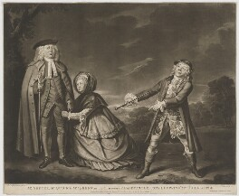 'Mr Shuter, Mr Quick and Mrs Green in the characters of Hardcastle', by Robert Laurie, printed for  Robert Sayer, printed for  John Bennett, after  Thomas Parkinson - NPG D40720