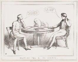 Writing the K-g's Speech (Arthur Wellesley, John Singleton Copley, Baron Lyndhurst; 1st Duke of Wellington; Sir Robert Peel, 2nd Bt), by John ('HB') Doyle, published by  Thomas McLean - NPG D40978