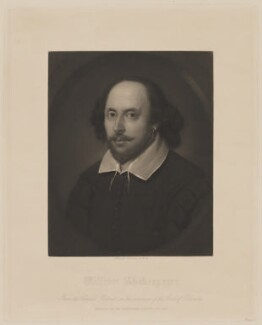 William Shakespeare, by Samuel Cousins, after a painting attributed to  John Taylor, published June 1849 (circa 1610) - NPG D40739 - © National Portrait Gallery, London