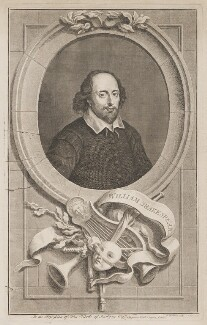 William Shakespeare, by Jacobus Houbraken, published by  John & Paul Knapton - NPG D41636