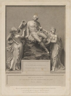 'William Shakespeare between the Dramatic Muse and the Genius of Painting', by Benjamin Smith, published by  John Boydell, published by  Josiah Boydell, after  Thomas Banks - NPG D41655