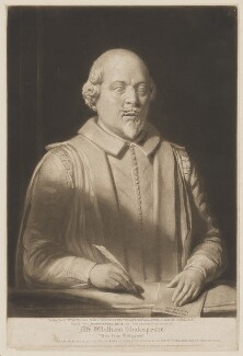 William Shakespeare, by William Ward, printed by  Lahee & Co, published by  John Britton, after  Thomas Phillips, after  George Bullock, after  Gerard Johnson, published 23 April 1816 (circa 1620) - NPG D41658 - © National Portrait Gallery, London
