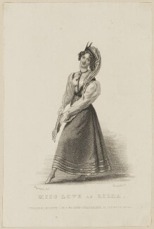 Emma Sarah Love (Mrs Calcraft) as Lilla, by Thomas Woolnoth, published by  John Cumberland, after  Thomas Charles Wageman - NPG D38600