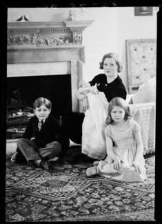 Ishabel Wilhelmina Sheila (née MacDougall), Lady Francis Hill with her children, by Bassano Ltd - NPG x155448