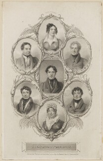 Catherine Capell-Coningsby (née Stephens), Countess of Essex; William Dowton; Robert William Elliston; Charles Mayne Young; Richard Jones; John Braham; Mary Ann Davenport (née Harvey), by William Thomas Fry, published by  Sherwood, Jones & Co, after  Thomas Charles Wageman - NPG D38603