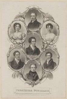 William Farren; Maria Rebecca Davison (née Duncan); Frances Harriet Kelly; Edmund Kean; John Fawcett; William Blanchard; Robert Keeley, by William Thomas Fry, published by  Sherwood & Co, probably after  Thomas Charles Wageman - NPG D38604