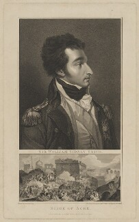 Sir William Sidney Smith with 'Seige of Acre', by and published by Anthony Cardon, and by  James Mitan, after  Sir Robert Ker Porter - NPG D41787
