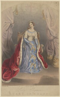 Jane Georgiana Seymour (née Sheridan), Duchess of Somerset ('Authentic Costume of Lady Seymour, Queen of Beauty'), by Joseph Bouvier, published by  Thomas McLean - NPG D41829