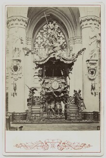View of the pulpit in the Cathedral of St Michael and St Gudule, Brussels, by Unknown photographer - NPG Ax46218
