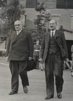 Ernest Bevin; Clement Attlee, by Unknown photographer, for  Associated Press, July 1945 - NPG x134935 - © Associated Press