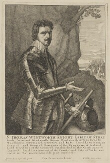 Thomas Wentworth, 1st Earl of Strafford, by Wenceslaus Hollar, after  Sir Anthony van Dyck - NPG D42069