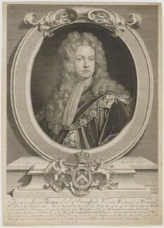 Thomas Wentworth, 1st Earl of Strafford, by George Vertue, published by  Andrew Johnston, after  Sir Godfrey Kneller, Bt - NPG D42073