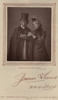 James Lewis as Justinian Babbit; Mrs George Henry Gilbert (Ann Hartley) as Mrs Zantippa Babbit in 'A Night Off', by Herbert Rose Barraud, published by  Carson & Comerford - NPG x9383