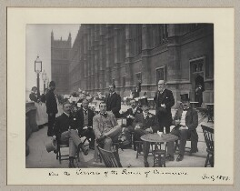 'On the Terrace of the House of Commons' (including Sir James Fortescue-Flannery, 1st Bt and Sir Ernest Francis Swan Flower), by Benjamin Stone - NPG x134982
