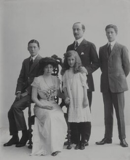 Baron Hardinge of Penshurst and family, possibly by Rita Martin - NPG x134957