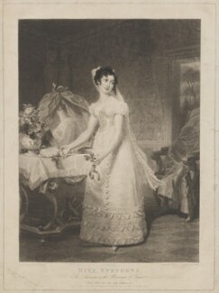 Catherine Capell-Coningsby (née Stephens), Countess of Essex as Susanna in the Marriage of Figaro, by Samuel William Reynolds, and by  Samuel Cousins, published by  William Sams, after  Henri Jean-Baptiste Victoire Fradelle - NPG D42152