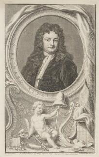 Sir Richard Steele, by Jacobus Houbraken, published by  John & Paul Knapton, after  Sir Godfrey Kneller, Bt - NPG D42160