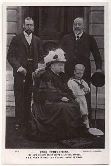 Four Generations' (King George V; Queen Victoria; King Edward VII; Prince Edward, Duke of Windsor (King Edward VIII)), by Adrian Eugene Lundstrom, for  Chancellor & Son, published by  J. Beagles & Co - NPG x135121
