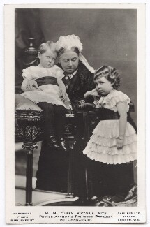 Prince Arthur of Connaught; Queen Victoria; Margaret, Crown Princess of Sweden, by Alexander Bassano, published by  J.J. Samuels Ltd, (26 November 1885) - NPG x135122 - © National Portrait Gallery, London