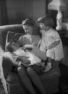 Alison (née Lawson), Lady Bradford (later Davies); Sir John Bradford, 4th Bt; Alison Adams (née Bradford), by Bassano Ltd, 18 December 1941 - NPG x178188 - © National Portrait Gallery, London
