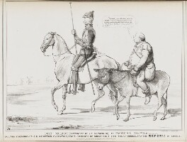 Don Quixote attended by his faithful squire Sancho Panza alias John Bull (Charles Grey, 2nd Earl Grey; John Bull), by John ('HB') Doyle, printed by  Alfred Ducôte, published by  Thomas McLean - NPG D41140