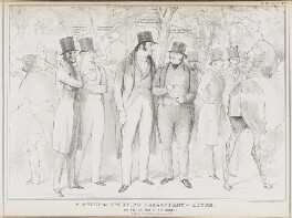 A Group of Sporting Characters at Epsom.  How are the odds on the Derby?, by John ('HB') Doyle, printed by  Alfred Ducôte, published by  Thomas McLean, published 12 June 1832 - NPG D41141 - © National Portrait Gallery, London
